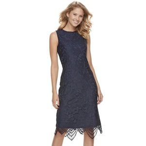 Sharagano Scalloped Sleeveless Lace Dress - 16